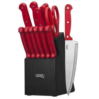 Essential Series 14-Piece Cutlery Set in Red with Block in Black