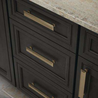 Beveled Square 6-5/16 in. (160mm) Center-to-Center Champagne Bronze Bar Drawer Pull