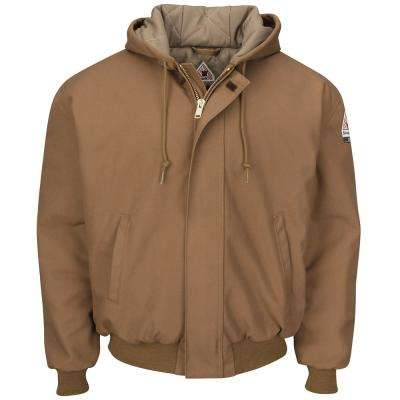 Men's Brown Duck Brown Duck Hooded Jacket with Knit Trim