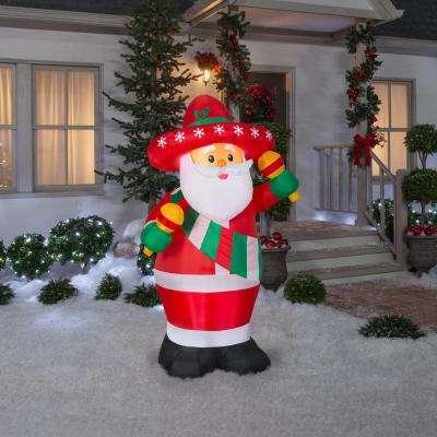 6 ft. Pre-Lit Life Size Inflatable Maracas Santa
