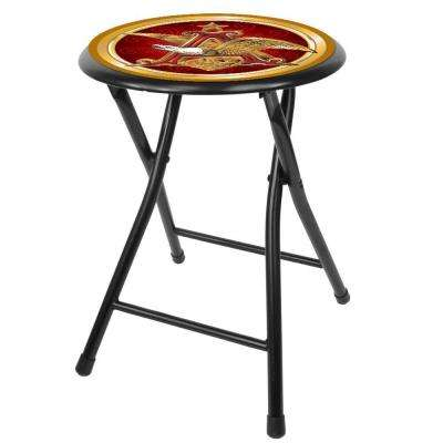Anheuser Busch A and Eagle 18 in. Black Cushioned Folding Bar Stool
