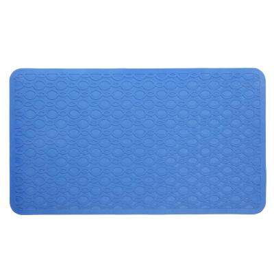 15 in. x 27 in. Large Rubber Safety Bath Mat with Microban in Blue