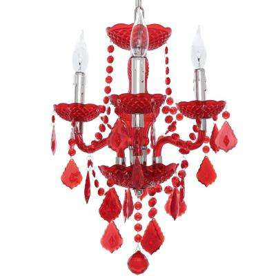 3-Light Maria Theresa Chrome Red Acrylic Chandelier