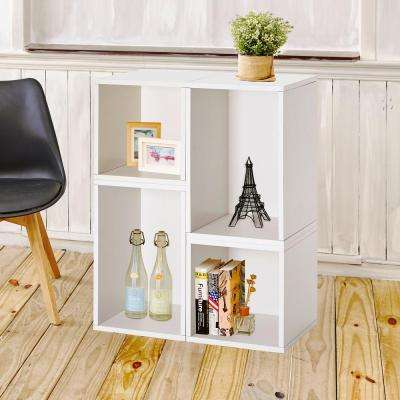 Blox System Verona Stackable 4-Cubby Modular Bookcase and Storage Shelf in White