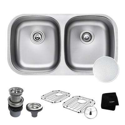 Outlast Microshield All-in-One Undermount Stainless Steel 32 in. 50/50 Double Bowl Kitchen Sink