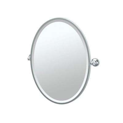 tiara 2425 in x 2750 in framed single oval mirror in chrome