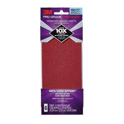 Pro Grade Precision 3.66 in. x 9 in. 150 Grit Medium Advanced Sanding Sheets (6-Pack)