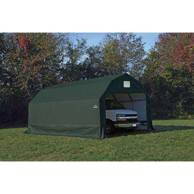 12 ft. W x 28 ft. D x 11 ft. H Steel and Polyethylene Garage without Floor in Green with Corrosion-Resistant Frame