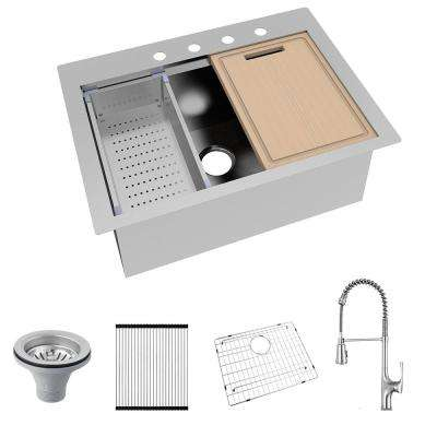All-in-One Drop-In Stainless Steel 30 in. 4-Hole Single Bowl Kitchen Workstation Sink with Faucet and Accessories
