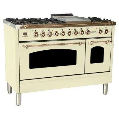 48 in. 5.0 cu. ft. Double Oven Dual Fuel Italian Range True Convection,7 Burners,Griddle,LPGas,Bronze Trim/Antique White