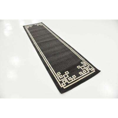 Athens Geometric Black 2' 7 x 10' 0 Runner Rug