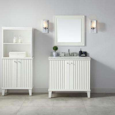 Parker 36 in. W x 22 in. D Vanity in White with Marble Vanity Top in White with White Basin