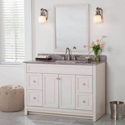 Brinkhill 49 in. W x 22 in. D Bathroom Vanity in Cream with Stone Effect Vanity Top in Mineral Gray with White Sink