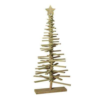 37 in. Wood Slat Tree with Star