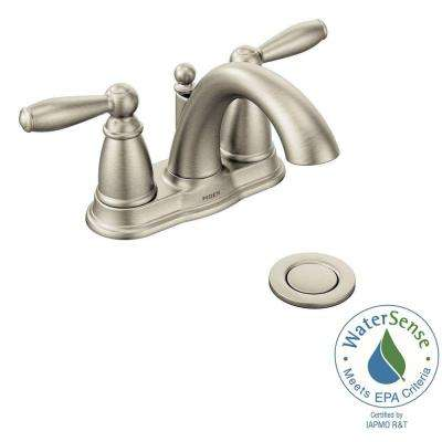 Brantford 4 in. Centerset 2-Handle Low-Arc Bathroom Faucet in Brushed Nickel with Metal Drain Assembly