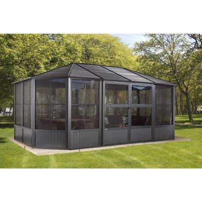 12 ft. D x 18 ft. W Charleston Aluminum Octagonal Solarium in Dark Gray with Galvanized Steel Roof and Mosquito Netting