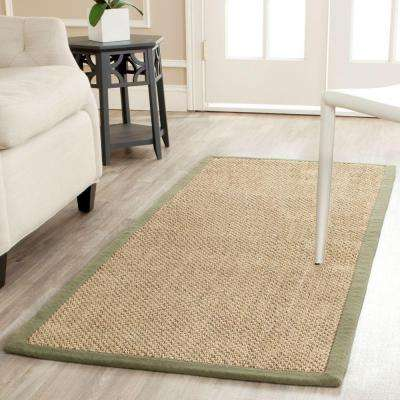 Natural Fiber Beige/Green 3 ft. x 6 ft. Runner Rug