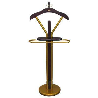 18.9 in. W x 11 in. D x 46 in. H Suit Valet Rack Stand Wood Valet in Gold