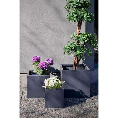 20 in. Clay Modern Square Fiber Planter (Set of 3)