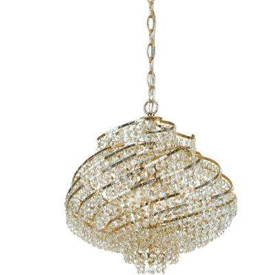 Lyric 4-Light Brass Mini Chandelier with Clear Glass Accents