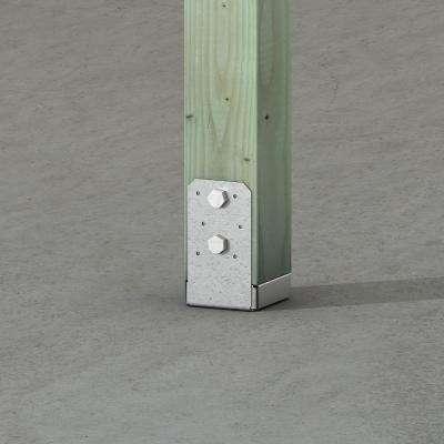 ABU ZMAX Galvanized Adjustable Standoff Post Base for 4x4 Nominal Lumber