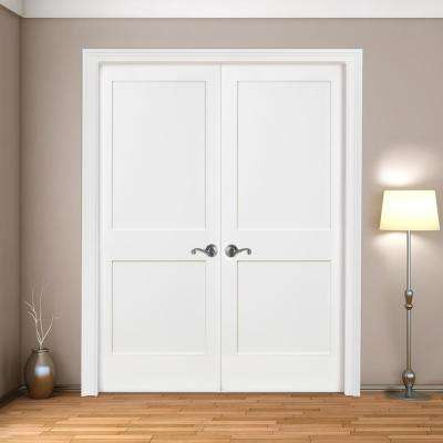 48 in. x 80 in. 2-Panel Square Shaker White Primed Solid Core Wood Double Prehung Interior Door with Nickel Hinges