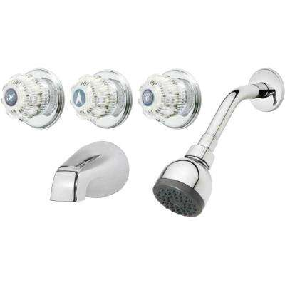 3-Handle 1-Spray Tub and Shower Faucet in Chrome