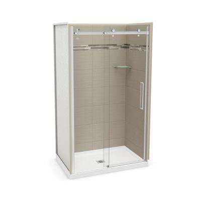 32 in. x 48 in. x 83.5 in. Direct-to-Stud Alcove Shower Kit in Origin Greige with Chrome Door
