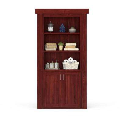 36 in. x 80 in. Flush Mount Assembled Laundry Door Cherry Stained Left-Hand Outswing