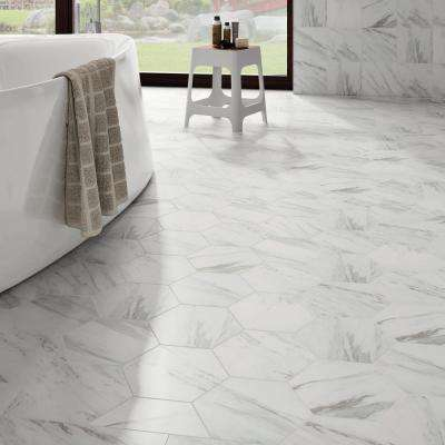 Eterno Carrara Hex Porcelain Floor and Wall Tile - 8.63 in. x 9-7/8 in. Tile Sample