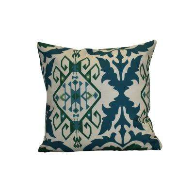 16 in. x 16 in. Bombay 6, Geometric Print Pillow, Teal