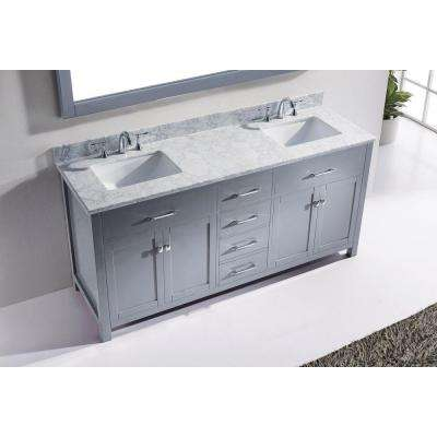 Caroline 72 in. W Bath Vanity in Gray with Marble Vanity Top in White with Square Basin and Mirror