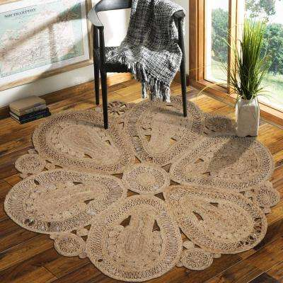 Natural Jute Natural Round 8 ft. x 8 ft. Indoor Area Rug