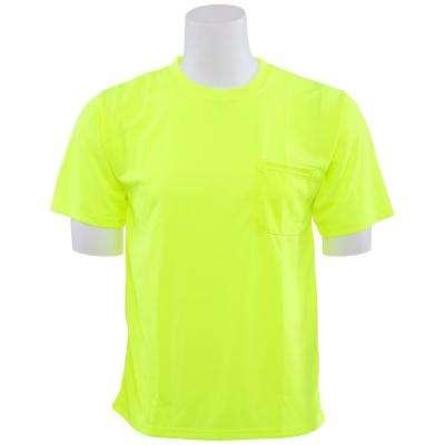 9006 Non-ANSI Poly Birdseye Mesh Hi Viz Lime T-Shirt