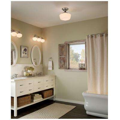 Academy 1-Light Brushed Nickel Semi-Flush Mount with LED Bulb