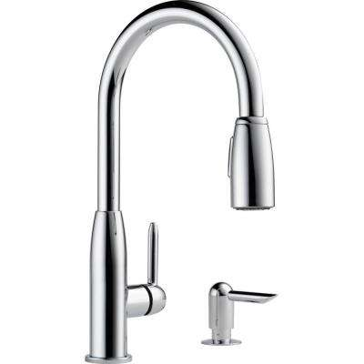 Apex Integrated Single-Handle Pull-Down Sprayer Kitchen Faucet with Soap Dispenser in Chrome