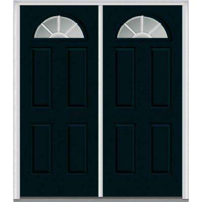 64 in. x 80 in. Classic Clear Glass GBG 1/4 Lite 4-Panel Painted Majestic Steel Double Prehung Front Door