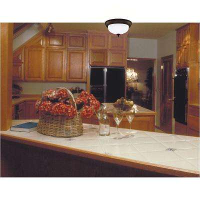2-Light Ceiling Fixture Oil Rubbed Bronze Interior Flush-Mount with Frosted White Alabaster Glass