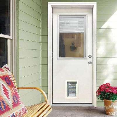 32 in. x 80 in. Classic Clear Mini-Blind RHOS White Primed Fiberglass Prehung Front Door with Med Pet Door