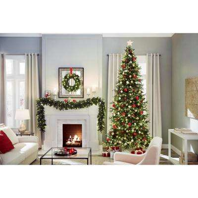 24 in. Battery-Operated Pre-Lit LED Artificial Meadow Fir Christmas Wreath w/ 225 Tips and 35 Warm White Lights w/ Timer