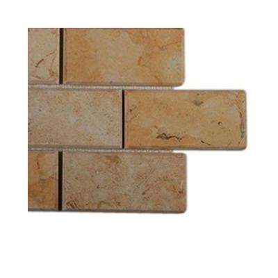 Jerusalem Gold Beveled Natural Stone Mosaic Floor and Wall Tile - 3 in. x 6 in. x 8 mm Tile Sample