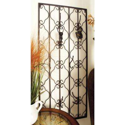 22 in. W x 48 in. H Black Wrought Iron Gate Wall Hook with Flourish Design