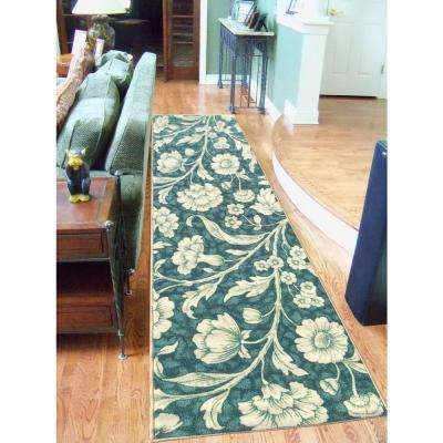 Sweet Home Collection Floral Design Ocean Green 2 ft. x 5 ft. Indoor Runner Rug