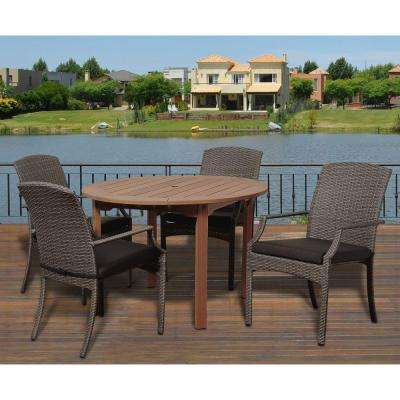 Dale 5-Piece Eucalyptus Round Patio Dining Set with Grey Cushions