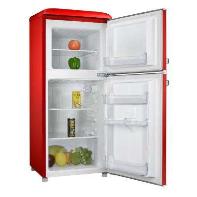 4.0 cu. ft. Retro Mini Refrigerator with Dual Door True Freezer in Red