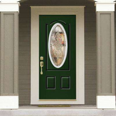 36 in. x 80 in. New Haven 3/4 Oval Right-Hand Painted Smooth Fiberglass Prehung Front Door w/ Brickmold, Vinyl Frame