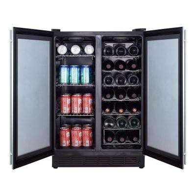 Dual Zone 23.4 in. 42-Bottle 114 Can Beverage and Wine Cooler