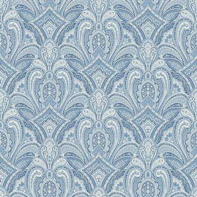 8 in. x 10 in. Barnes Blue Paisley Damask Wallpaper Sample
