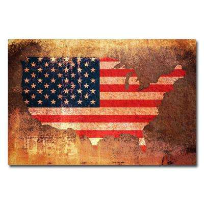 22 in. x 32 in. US Flag Map Canvas Art
