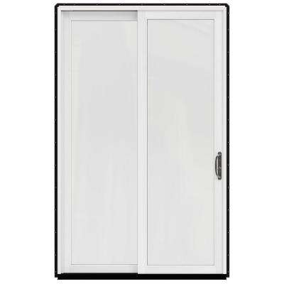 59.25 in. x 95.5 in. W-2500 Black Prehung Left-Hand Sliding 1-Lite Pine Patio Door with Painted White Interior